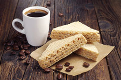 Cup of coffee and sweet waffles Royalty Free Stock Image