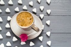 Cup coffee sweets heart shaped lollipop sugar cubes Royalty Free Stock Images