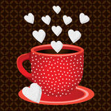Cup coffee sweets heart shaped sugar cubes Royalty Free Stock Photography