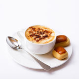 Cup of coffee and sweets top view square isolated. Coffee concept. Selective focus Royalty Free Stock Photo