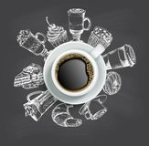 Cup of coffee with sweets vector chalkboard design template stock illustration