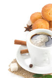 Cup of coffee and sweets on white Stock Photography