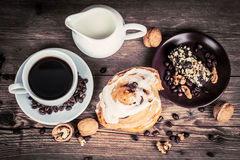 Cup of coffee and sweets Stock Photos