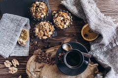 A cup of coffee with sweets. stock photo