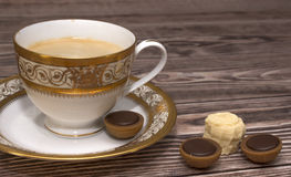 Cup of coffee with sweets Stock Photo