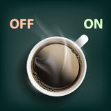 Cup of coffee with a switch. Energy and cheerfulness. Stock  illustration Stock Photos