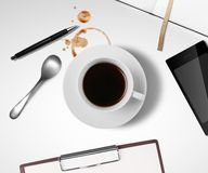 Cup of coffee on table Royalty Free Stock Image