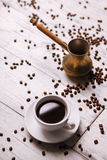 Cup of coffee. On the table Royalty Free Stock Photography