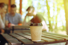 Cup of coffee on table in cafe. Stock Image