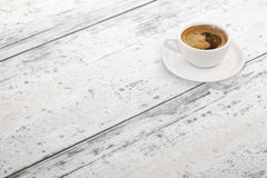 Cup of coffee on table. Free space. Isometric view royalty free stock photography