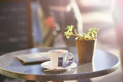 Cup of coffee  on table beside plant