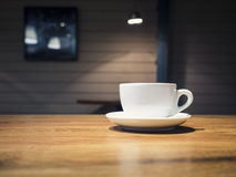Cup of coffee on Table Shop cafe Restaurant Interior Stock Photos