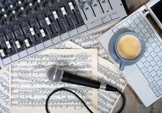 Cup of coffee on a table sound mixer Royalty Free Stock Photos