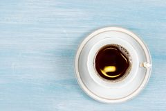 Cup of coffee on the table. Top view Royalty Free Stock Photo