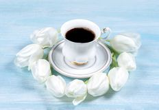Cup of coffee on a table with white tulips. Top view Stock Images