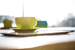 Cup of coffee and tablet pc Stock Photos