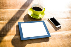 Cup of coffee and tablet pc Stock Photo