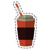 Cup coffee take away with cap straw - dot line royalty free illustration