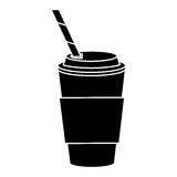 Cup coffee take away with cap straw pictogram stock illustration