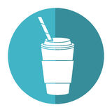 Cup coffee take away with cap straw - round icon royalty free illustration