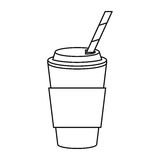 Cup coffee take away with cap straw thin line Royalty Free Stock Images