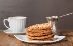Cup of coffee with tasty  cookies and turk for coffee Stock Image