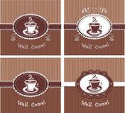 Cup of coffee or tea. In chocolate colors stock illustration