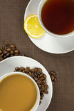 Cup of coffee and tea Stock Photography