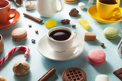 Cup of coffee, tea and cacao at blue background Royalty Free Stock Images