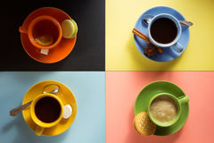 Cup of coffee, tea and cacao Stock Images