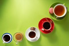 Cup of coffee, tea and cacao. At paper background royalty free stock photography