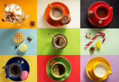 Cup of coffee, tea and cacao Royalty Free Stock Images
