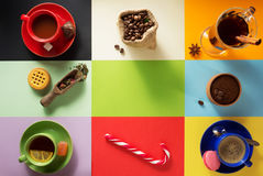 Cup of coffee, tea and cacao Royalty Free Stock Photography