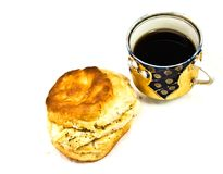 Cup of Coffee/Tea Chicken Biscuit Royalty Free Stock Photo