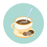 Cup Coffee Tea With Cookies On Plate Beverage Morning Drink Icon Stock Image