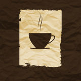 Cup of coffee or tea  on crumpled paper Stock Images