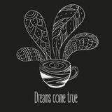 Cup of coffee or tea. Dreams come true text. Vector Illustration for breakfast and thinking concept on black background Royalty Free Stock Image