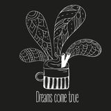 Cup of coffee or tea. Dreams come true text. Vector Illustration for breakfast and thinking concept on black background Stock Photo