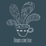 Cup of coffee or tea. Dreams come true text. Vector Illustration for breakfast and thinking concept Royalty Free Stock Photos