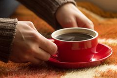 Cup of coffee or tea in female hands Stock Images