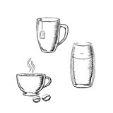 Cup of coffee, tea and glass water sketches Stock Image