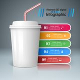Cup of coffee, tea icon. Bussiness infographic Royalty Free Stock Photo