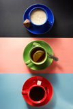 Cup of coffee and tea on paper Royalty Free Stock Photos
