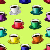 Cup of coffee or tea. Pattern. Stock Photography