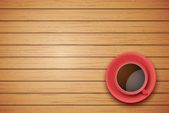 Cup of coffee or tea on the table dark wood Royalty Free Stock Photos