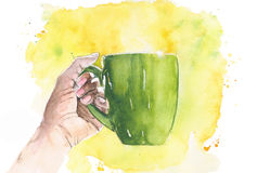 Cup of coffee tea watercolor painting illustration isolated on white background. Cup of coffee tea watercolor painting illustration isolated on white Royalty Free Stock Photo