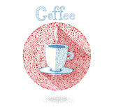 Cup of coffee (tea)on white background in drops style. Vector illustration. Let's coffee (tea)! Coffee (Tea ) invitation. Stock Photo