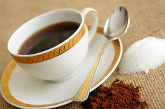 Cup of coffee and teaspoon Royalty Free Stock Images