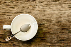 Cup of coffee and teaspoon Royalty Free Stock Photography