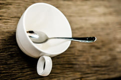 Cup of coffee and teaspoon Royalty Free Stock Photos